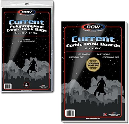 Amazon.com: 100 BCW Current Comic Book Bags and Boards: Sports ...